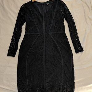 Ann Taylor Black Lace Long Sleeve Dress